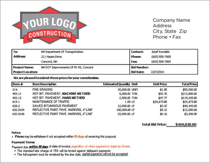 construction estimating software job project bidding program